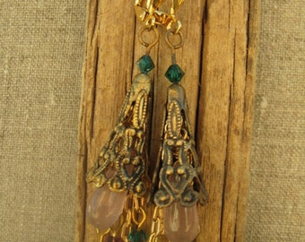 Bohemian Earrings in Lavender & Green