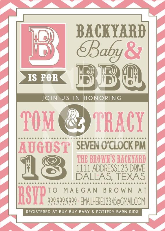 couples bbq baby shower invitation pink backyard bbq