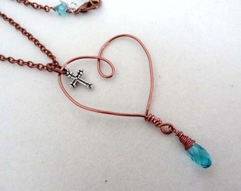Copper Floating Heart Silver Cross Charm Love blue Crystal bead Wire Wrapped handmade pendant necklace Christian Religious Jewelry Memorial