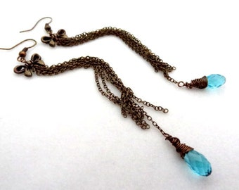 Bronze long chain Dangle Wire Wrapped blue crystal bow handmade earrings jewelry