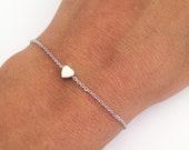 Tiny Heart bracelet, Dainty jewelry, everyday bracelet, Silver heart, Layering bracelet, minimalist bracelet, bridesmaids gift under 15 USD