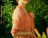 Orange Woven Cotton Scarf