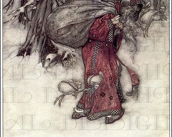 Unusual Santa Claus . Arthur Rackham. VINTAGE Illustration. Christmas DIGITAL Download. Digital Christmas Download