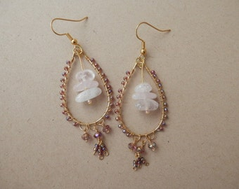 Large Chandelier earrings in pink and purple - Teardrop shaped Earrings - FREE SHIPPING within the USA