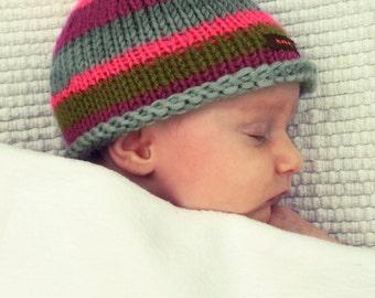 Knit striped baby hat newborn