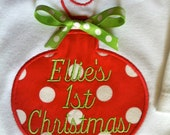 Baby's First Christmas, Ornament applique, Personalized Onesie