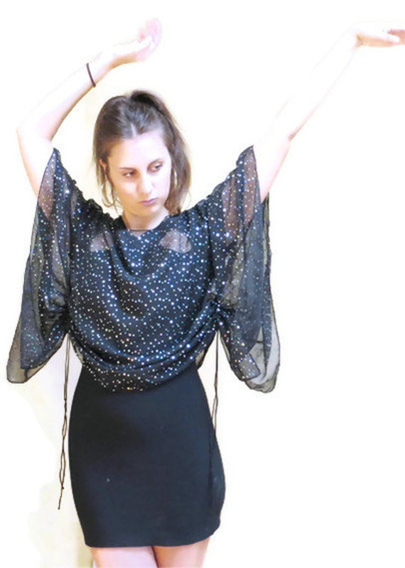 Galaxy Sheer Glitter Batwing Top // Unique Blouse Free Size // Free Shipping //