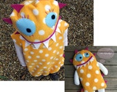 child's monster costume toy baby toddler yellow white pink blue polka dott