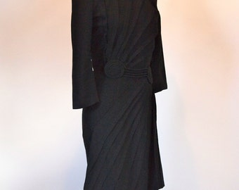 Vintage 30s 3/4 sleeved black lightweight wool dress with swirled pleating details Lady In Black by Coleman Cloth size 12