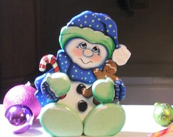 Snowman baby shelf sitter wood craft