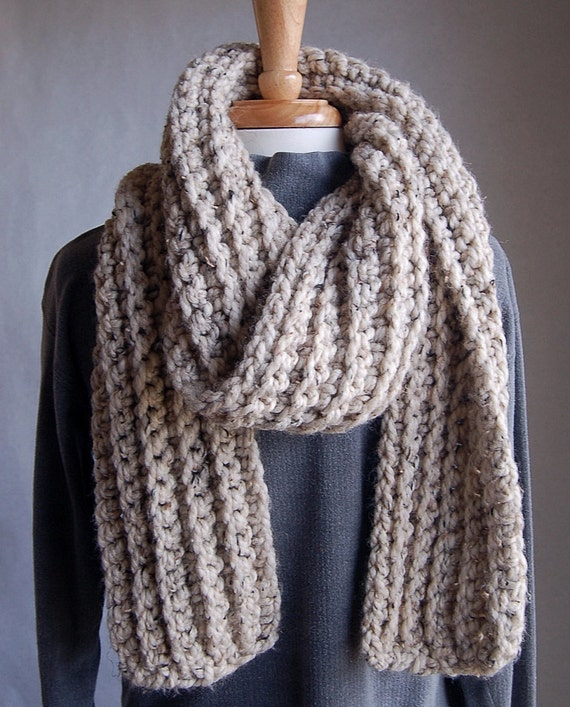 "Dolphin Bay very warm, 84"" extra-long chunky scarf in Oatmeal, ribbed warm scarf for men or women, washable wool/acrylic, tall mens scarf"