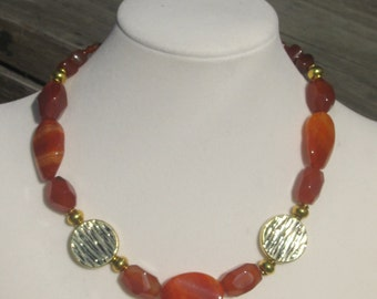 Red Agate, Carnelian, and Pewter Necklace