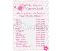 Printable Bird Baby Shower Game, Who Knows Mommy Best Game, Pink Bird Theme Baby Shower Game, Instant Download Baby Shower Game