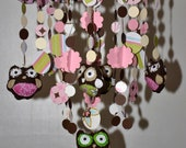 Too Hoot for Owls Crib Mobile (pink/brown) Nursery Decor, Baby Shower Gift, Baby Chandelier