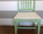 Distressed Cozy Bright Mint Green Vintage Reupholstered Chair