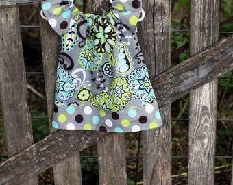 Lime Aqua Brown Paisley With Polka Dot Peasant Dress - Baby Girl