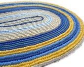 Traditional Oval Rag Rug Woven  Naalbinding Rug Yellow and Blue 32 x 46 Folk Art Floor Decor