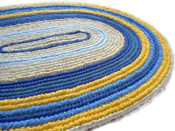 Traditional Oval Rag Rug Woven  Naalbinding Rug Yellow and Blue 32 x 46 Folk Art Floor Decor