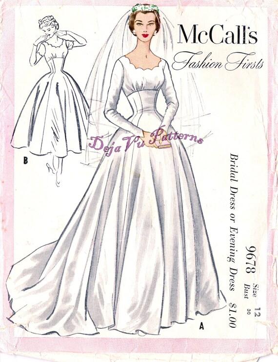 Mccall 39 s 9678 vintage 1950s empire waist wedding dress for Wedding dress patterns mccalls
