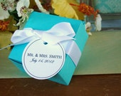 50 Wedding  Favor Boxes with PERSONALIZED White Tag and Ribbon