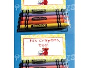 Elmo's World Goldfish & Crayons Favor Bag Fold Over signs- Customized Digital File