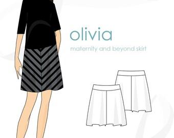 Maternity skirt pattern: Olivia pull-on skirt maternity & beyond pattern, PDF