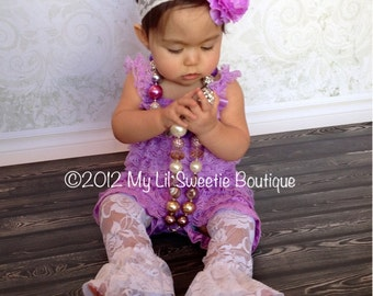 Lavender Purple Lace Petti Romper -light purple lace romper, infant outfit, Toddler outfit- birthday outfit