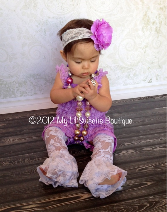 New Lavender Purple Lace Petti Romper Set Newborn Baby Girl