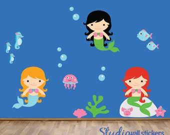 Mermaid Wall Decal Reusable Childrens Wall Decal