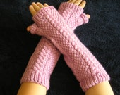 Hand Knitted Fingerless Gloves With Open Ended Thumb Sleeve - Elbow Length - Blackberry - Teen to Adult