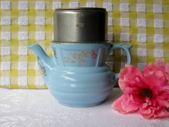RESERVED FOR FRANCES Blue Coffee Pot Hall Drip O Lator Vintage 1940's