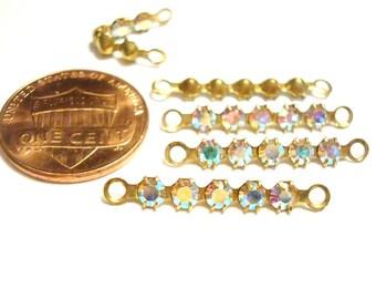 12 Vintage Swarovski Crystal AB Rhinestone Brass 25mm. Bendable 2-Loop Bars R48