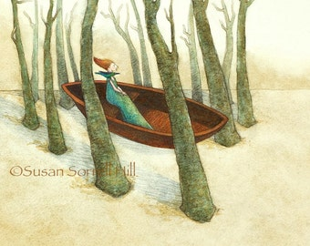 Journey - original watercolor painting - surreal fairytale watercolour - symbolism - woman in a boat - forest bird trees - illustration