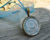 Bright Blue with Sassy White Swirl Glass Pendant Necklace