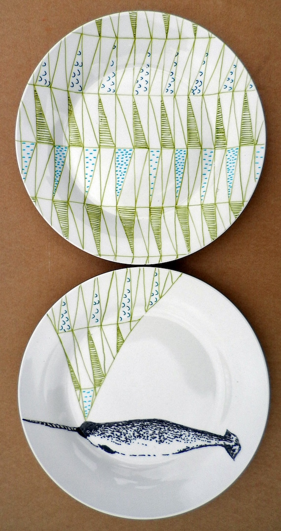 Narwhal Whale Geometric Design Plates hand illustrated porcelain