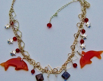Carnelian Dolphins and Stars on Chain Necklace