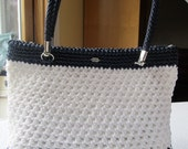White and Navy Blue Crochet Purse
