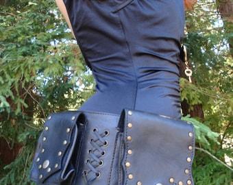 6 Pockets Badass Black Leather Utility Burner Belt adjustable hip waist size