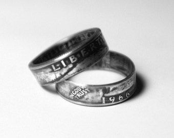 51st-1966  Coin Ring 51st Birthday Gift 51st Anniversary Gift Coin Jewelry made from a 1966 quarter