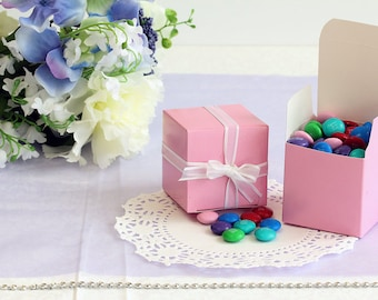 50x Pink Wedding Favor Cube Boxes-Bridal Shower-Baby Shower-Party Favor-Candy Gift Box 2x2x2