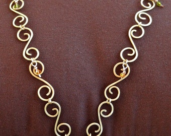 Hand hammered Brass wire necklace with curled and rounded links with Swarovski crystals by Third Time's A Charm- *FREE SHPPING!