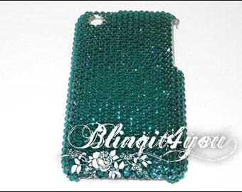 Custom Make Rhinestone Bling Dark Green Emerald Back Case 4 Apple iPhone 5 5S 6 6S 7 8 X 10 Plus Handmade w/ 100% Swarovski Crystal Elements