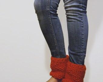 chunky hand knit boot cuffs - the talar mini ankle warmers in pumpkin