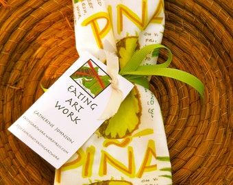 PINEAPPLE (Piña) Kitchen Towel, brightly colored, Cotton/Linen