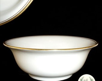 Vintage Lenox Cream Round Bowl with Gold Trim