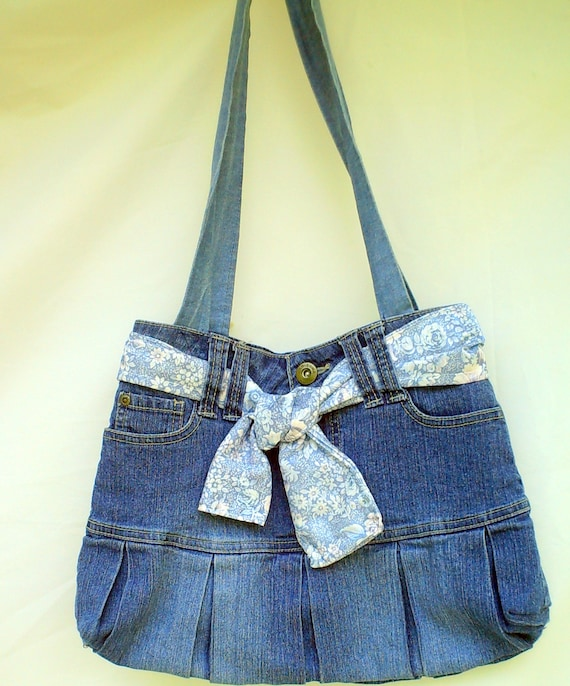 Jean bag with a twist, OOAK, must see purse