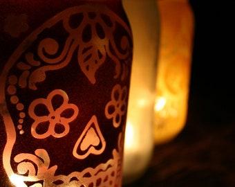 Garden Light, Mason Jar Outdoor Light, Day of the Dead Sugar Skull decoration in Black and Pink