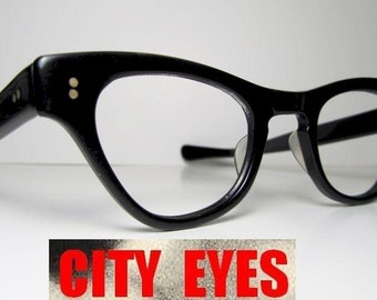 1950s Cat Eye Black optical frames for Eyeglasses or Sunglasses black vintage retro eye sun glasses cateyes eyes womans