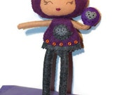 Purple owl doll - felt - posable with puppet - purple grey - owl girl doll