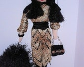 "CHRISTMAS DISCOUNT - Mona -  12,5"" handmade rag doll in black-gold overalls"
